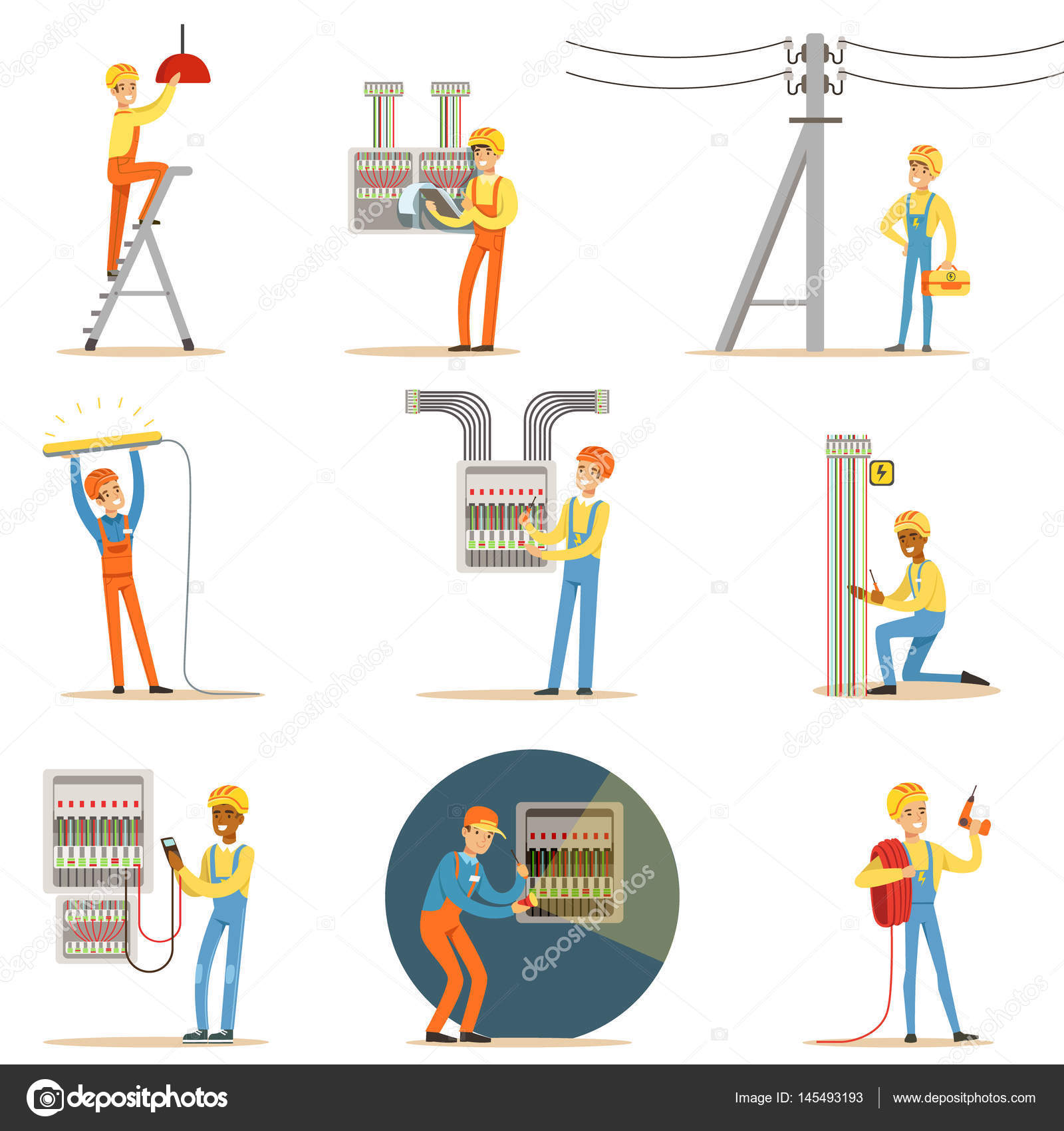 Electrician In Uniform And Hard Hat Working With Electric Cables And ...