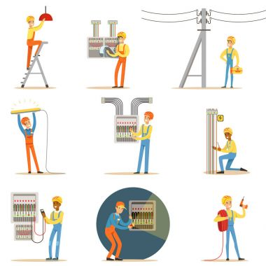 Electrician In Uniform And Hard Hat Working With Electric Cables And Wires, Fixing Electricity Problems Indoors And Outdoors Set Of Illustrations