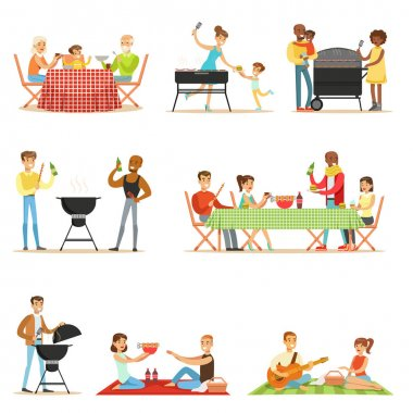 People On BBQ Picnic Outdoors Eating And Cooking Grilled Meat On Electric Barbecue Grill Set Of Scenes
