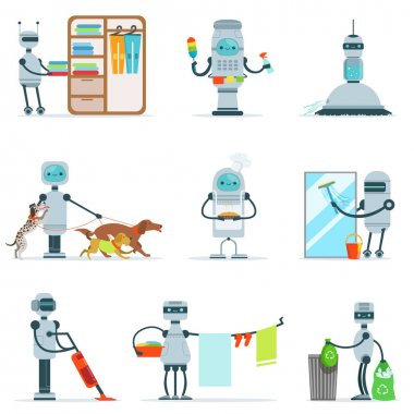 Housekeeping Household Robot Doing Home Cleanup And Other Duties Set Of Futuristic Illustration With Servant Android