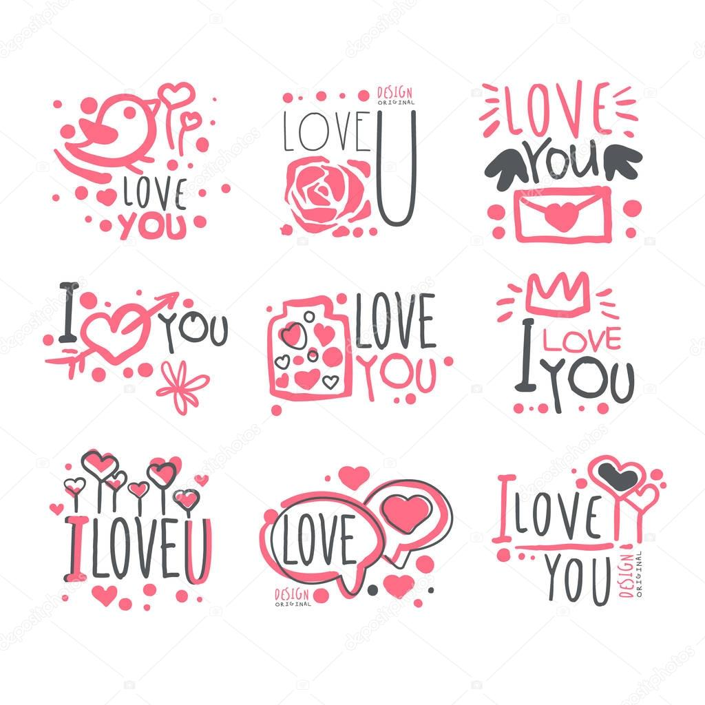 Romantic I Love You Message For St Valentines Day Postcard, Colorful Graphic Design Template Logo Series, Hand Drawn Vector Stencils