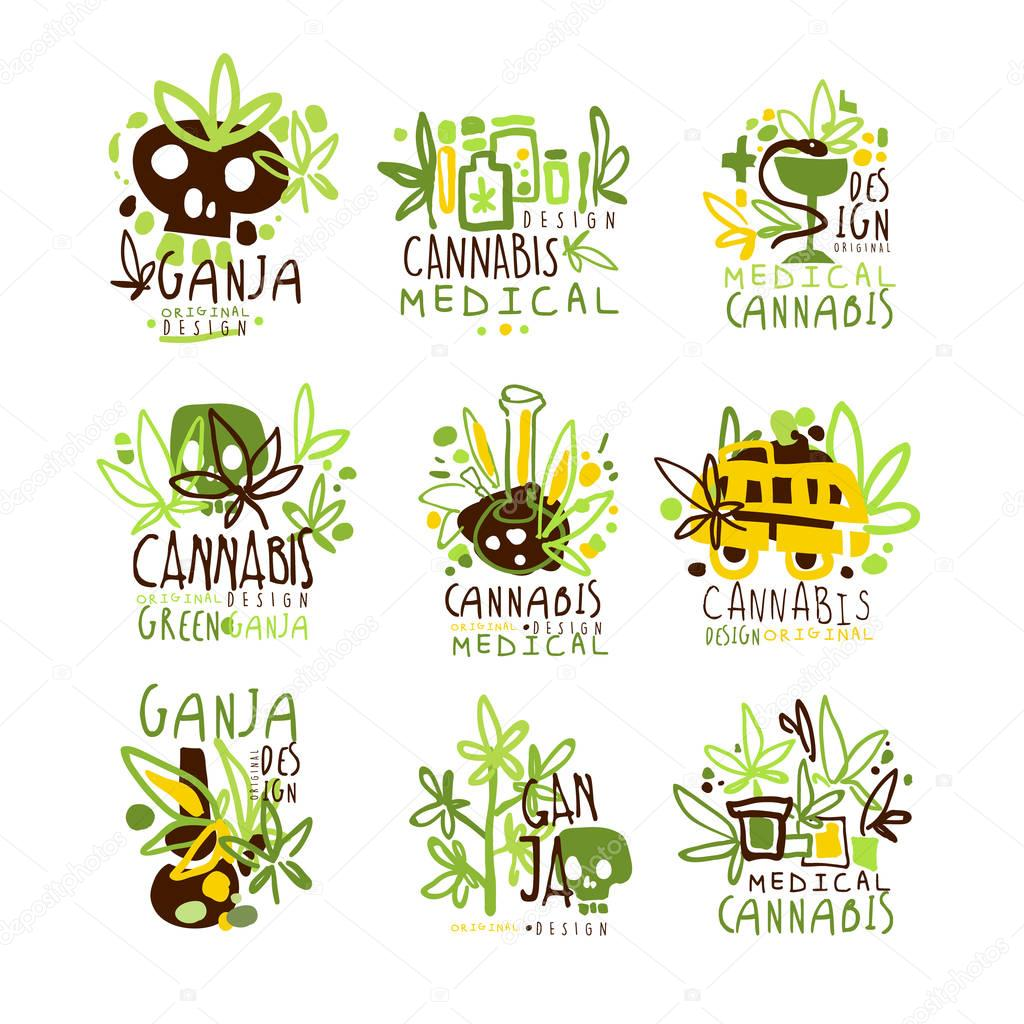 Medical Cannabis Colorful Graphic Design Template Logo Series,Hand Drawn Vector Stencils