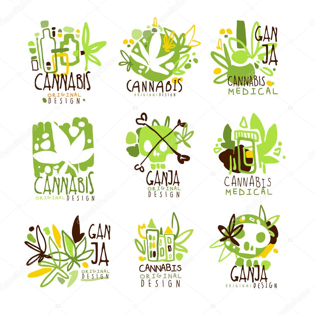 Medical Ganja Colorful Graphic Design Template Logo Series,Hand Drawn Vector Stencils