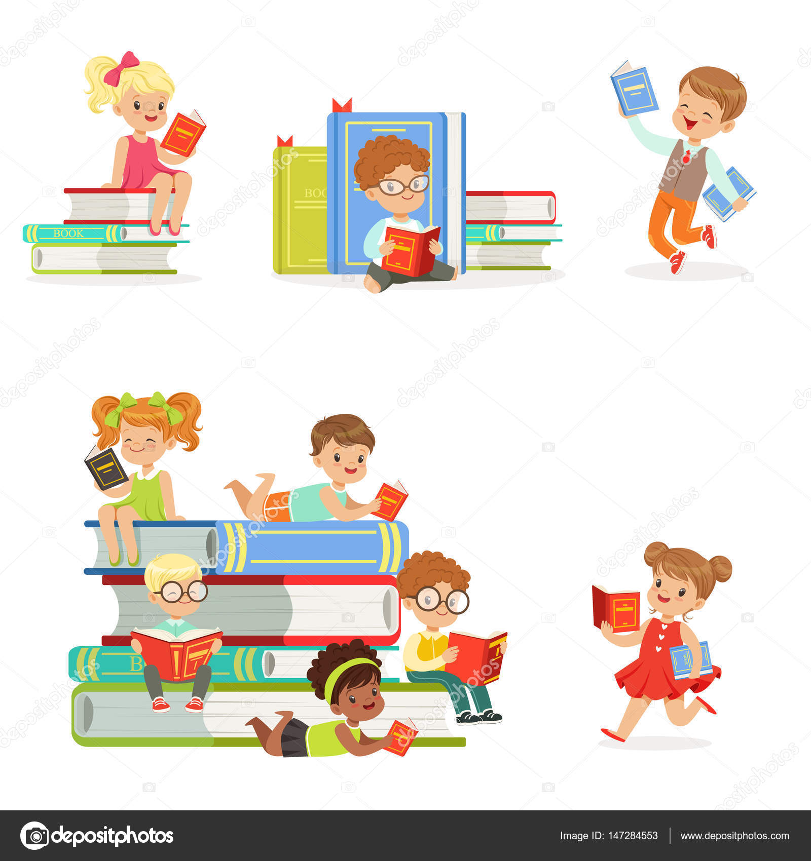 Kids Reading Books And Enjoying Literature Set Of Cute Boys