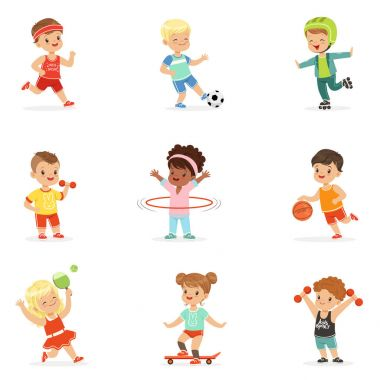 Small Kids Playing Sportive Games And Enjoying Different Sports Exercises Outdoors And In Gym Set Of Cartoon Illustrations. Cute Children And Active Lifestyle Series Of Adorable Characters. stock vector