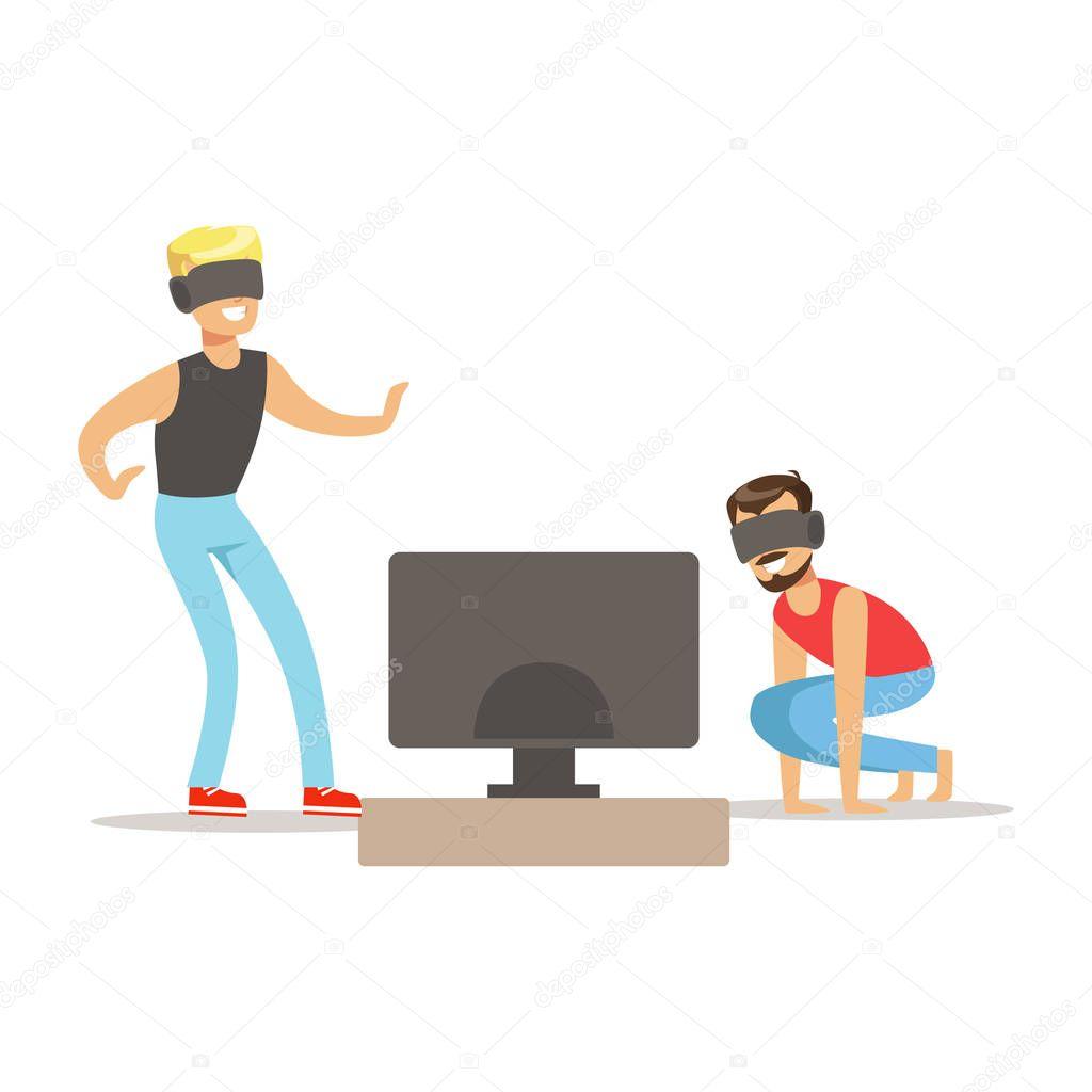 Due amici in realt virtuale occhiali parte di giocatori for Gioco arredare casa virtuale
