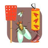 Fotografie Gelbes Klebeband für fliegen und roten Fliegenklatsche. Bunte Comic-illustration
