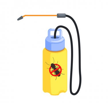 Yellow pressure sprayer for destruction of termites and ants. Colorful cartoon illustration
