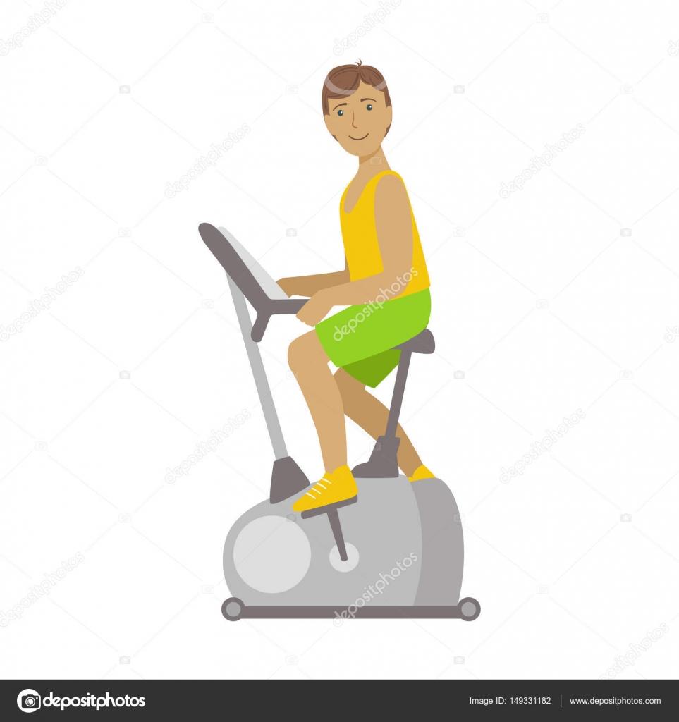 Junge Brünette Männlich Arbeitet Im Radsport Fitness Studio Bunte