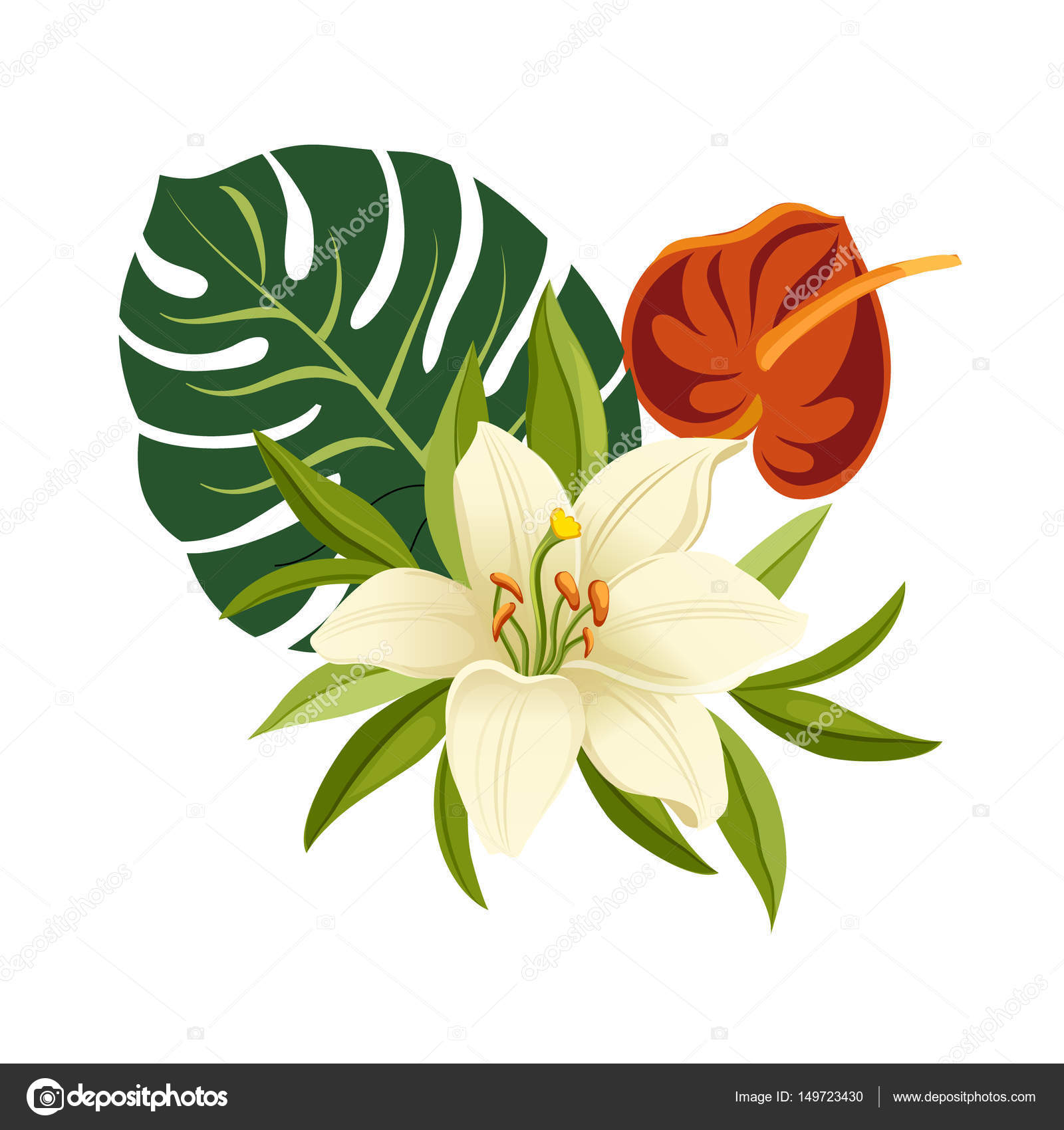 Dibujos Flores Tropicales Flores Tropicales Y Hojas Composicion