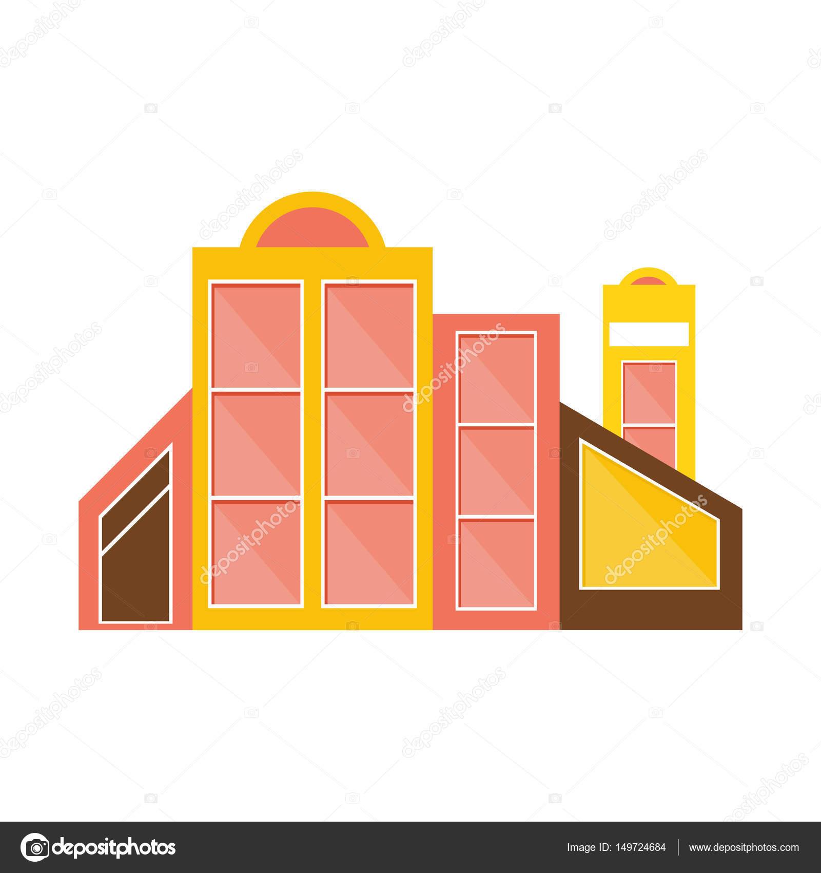 Rosa, gelb und braun Shopping Mall modernes Gebäude Exterieur-Design ...