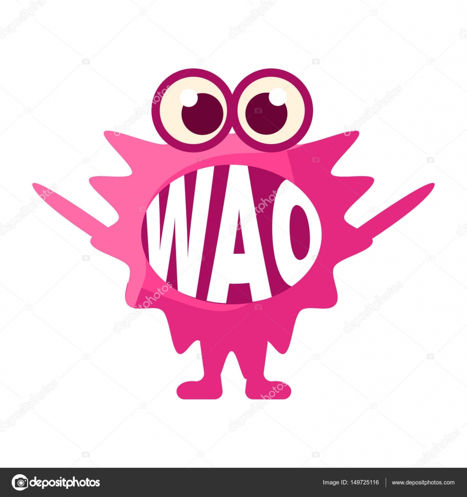Pink blob saying wao cute emoji character with word in the mouth pink blob saying wao cute emoji character with word in the mouth instead of teeth emoticon message cartoon abstract emoticon with text in flat vector buycottarizona