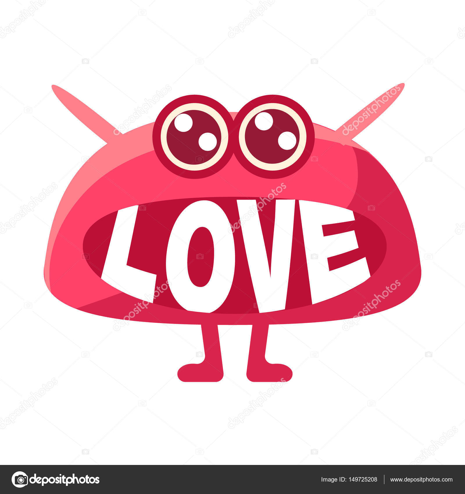 Pink blob saying love cute emoji character with word in the mouth pink blob saying love cute emoji character with word in the mouth instead of teeth emoticon message cartoon abstract emoticon with text in flat vector buycottarizona