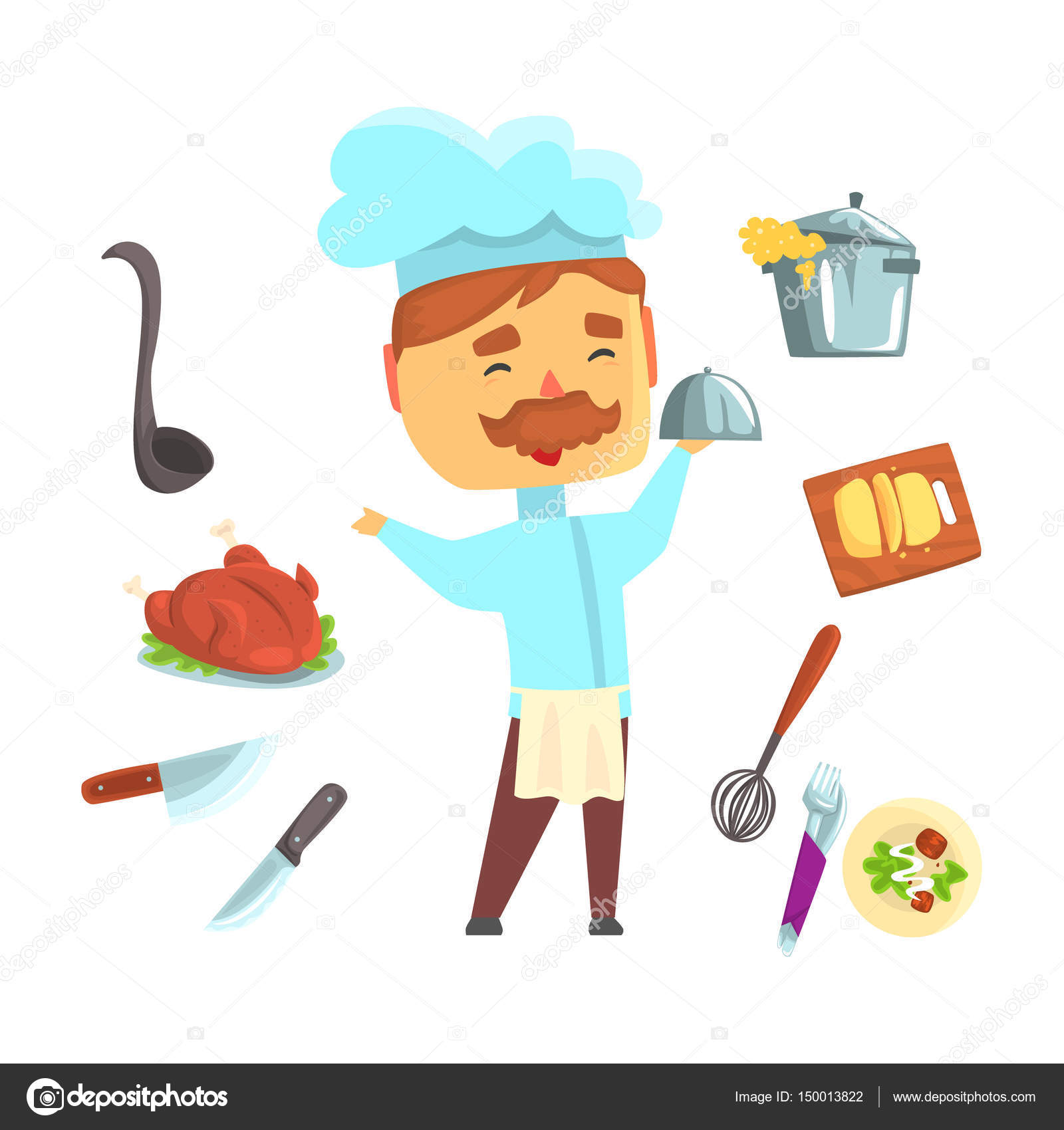 Cartoon kitchen appliances - Kitchen Appliances And Different Dishes Set For Label Design Colorful Cartoon Detailed