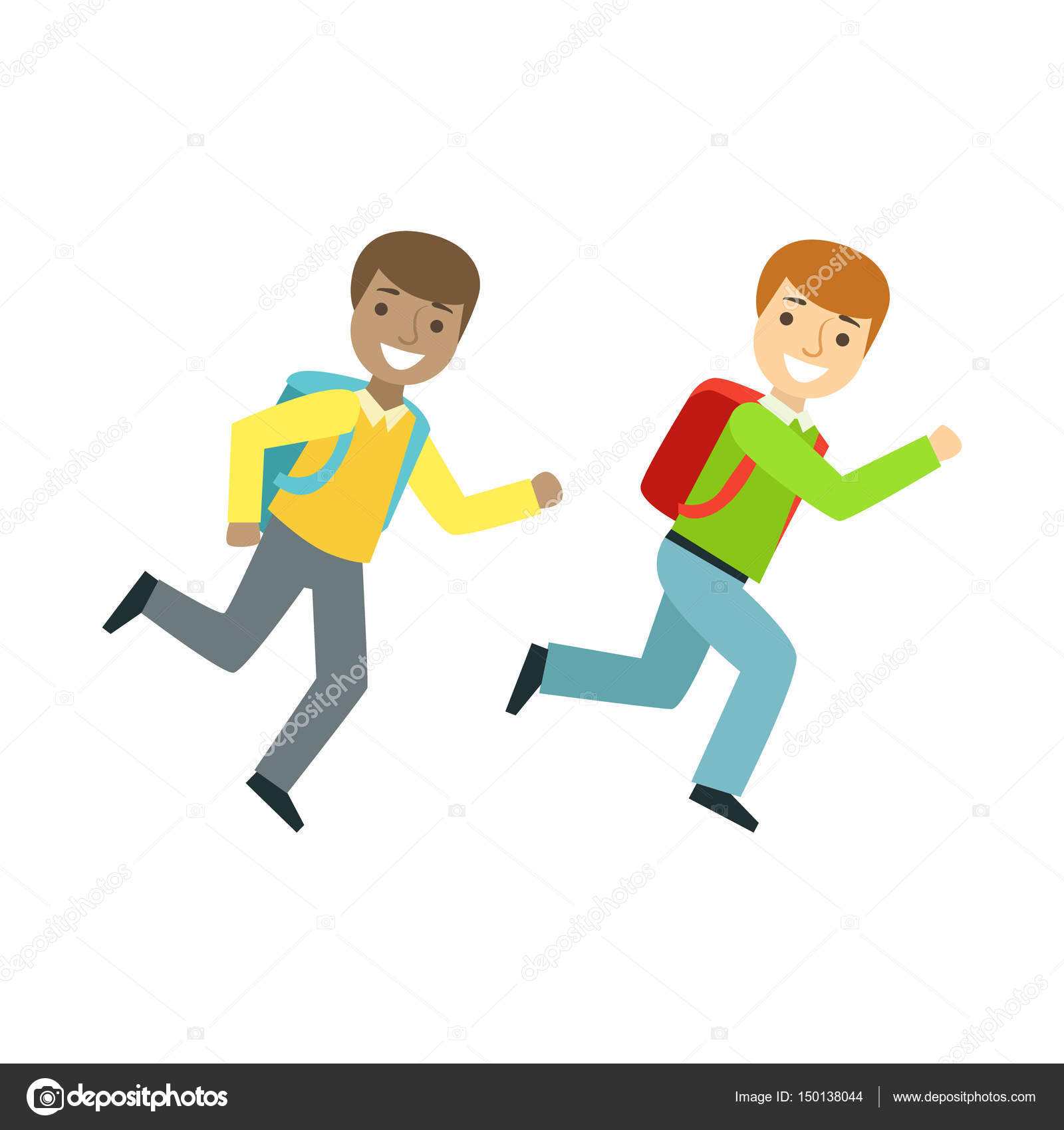 Two Boys Running To The Classroom Part Of School And Scholar Life Series Of Minimalistic Illustrations Vector Image By Topvectors Vector Stock 150138044
