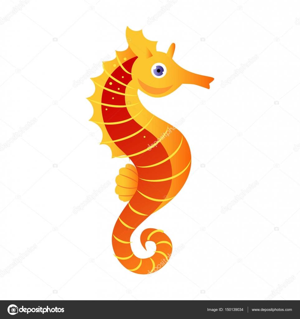 Caballito de mar o hipocampo, criatura del mar. Personaje de dibujos ...
