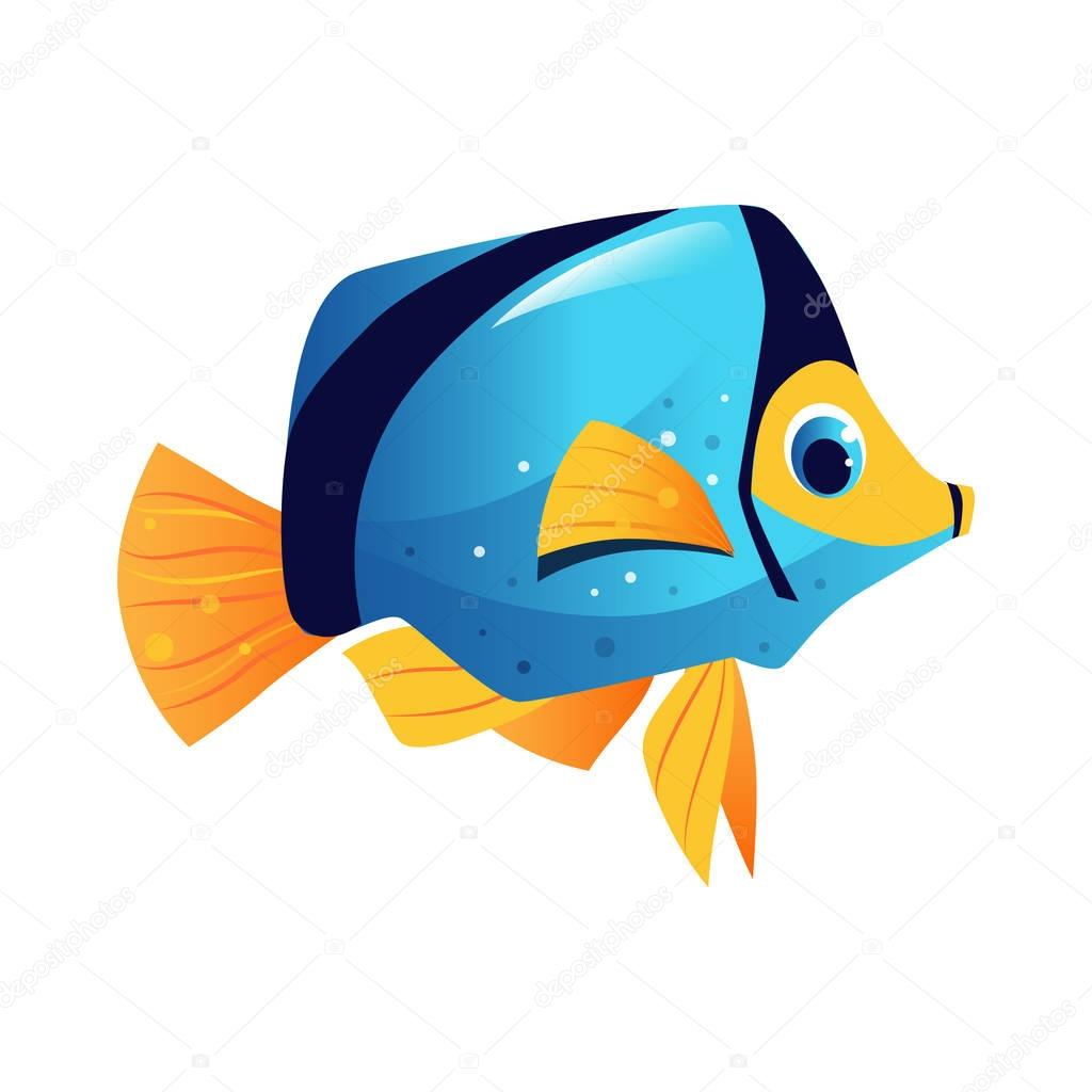 Blue surgeon fish, sea, tropical, aquarium fish. Colorful cartoon character