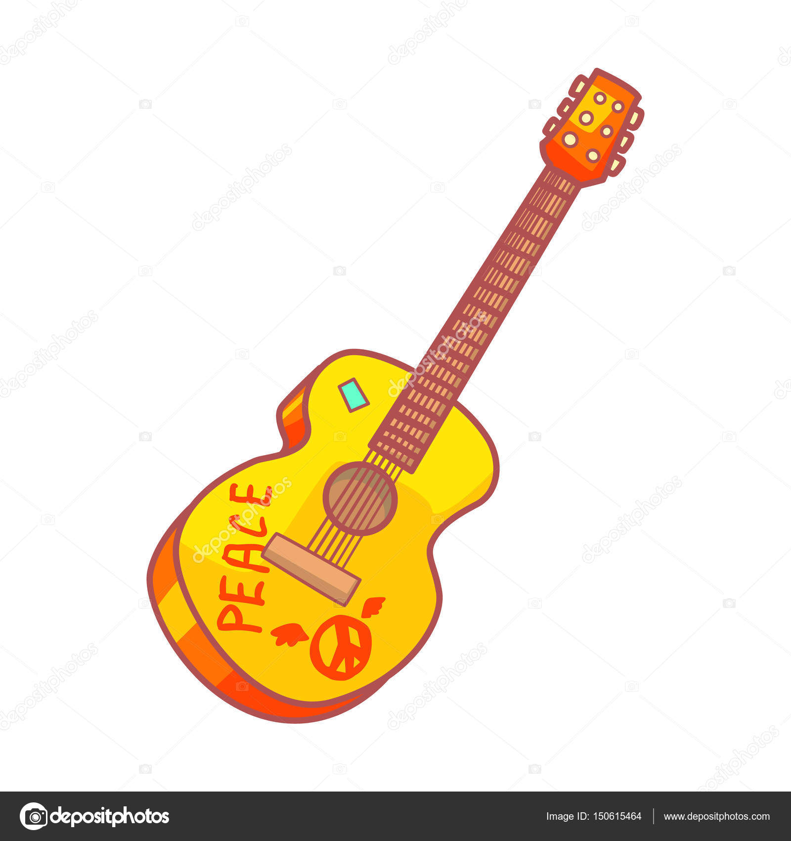 Acoustic Guitar With Peace Lettering Colorful Cartoon