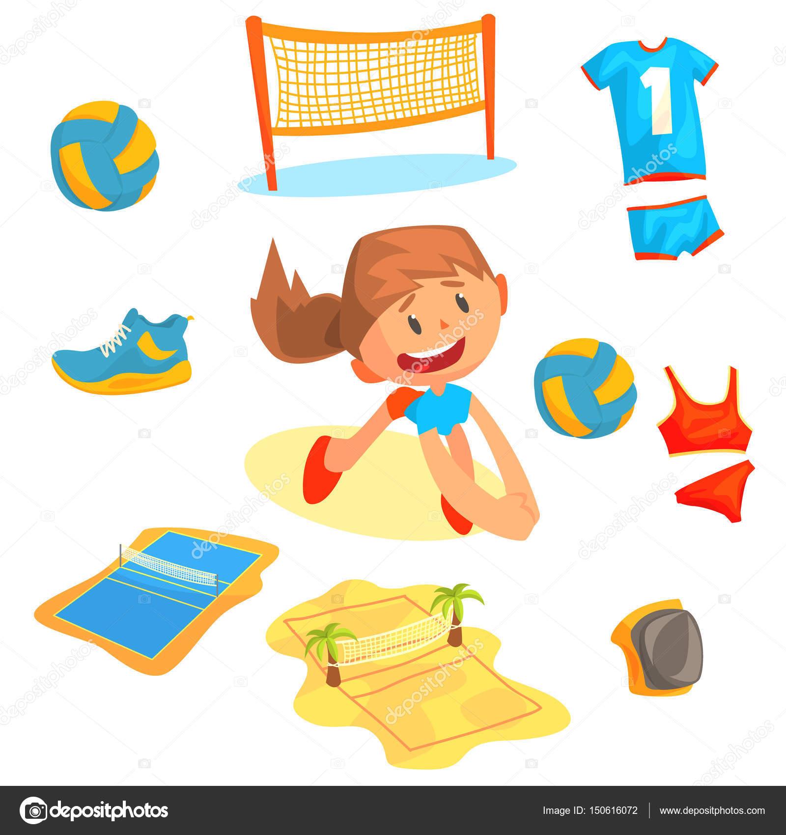 35bfe1afb8d77d Спортивний інвентар для волейболу. Мультфільм детальне ілюстрацій– стокова  ілюстрація. Дівчина, Граючий з м'ячем в пляжний волейбол, набір ...