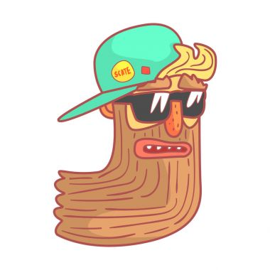 Bearded biker in motorcycle sunglasses and cap. Colorful cartoon illustration