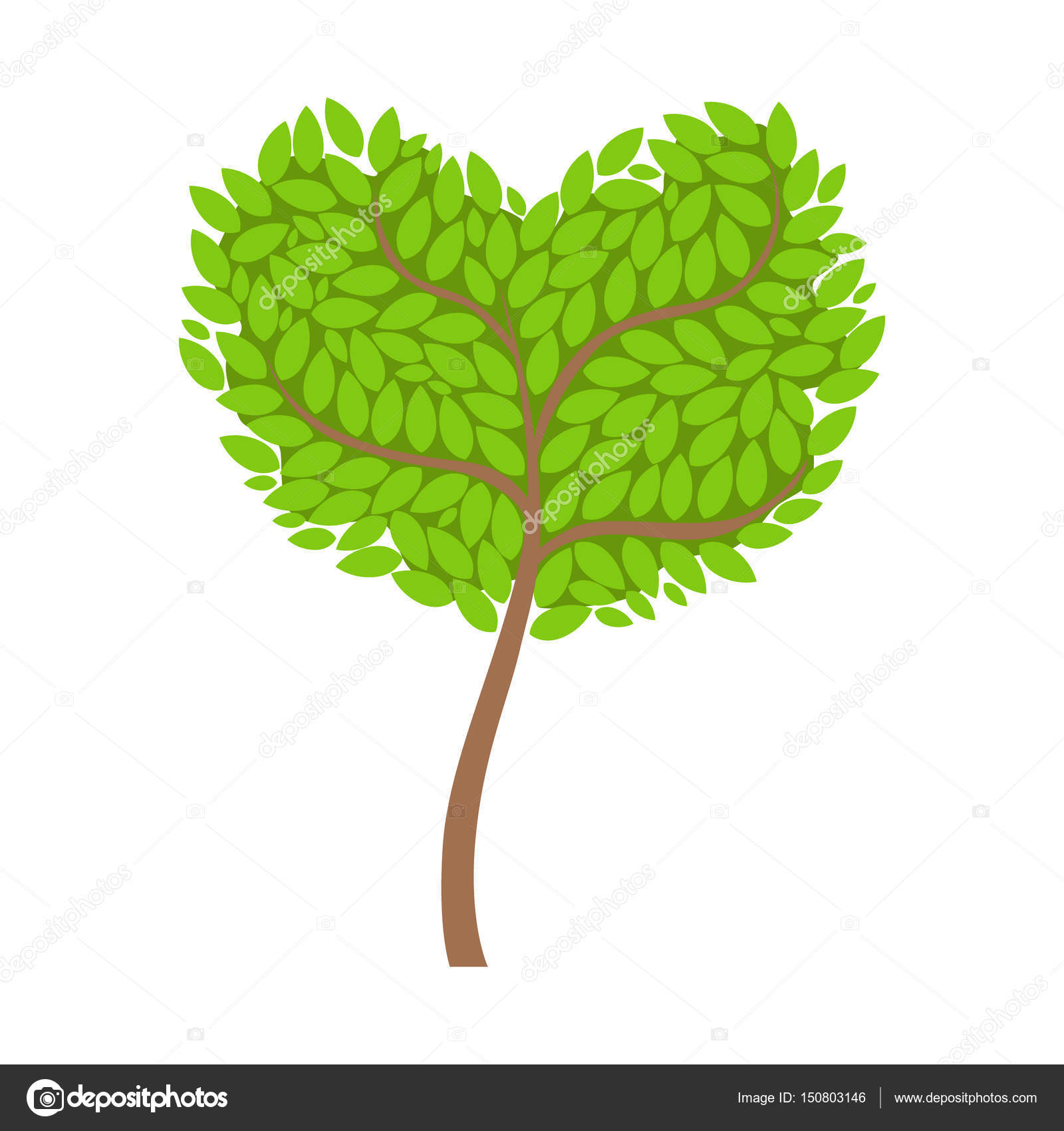 Green tree with a heart shaped crown, element of a landscape ...