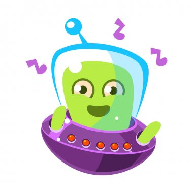 Dancing alien in a flying saucer, cute cartoon monster. Colorful vector character