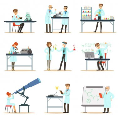Scientists At Work In A Lab And An Office Set Of Smiling People Working In Academic Science Doing Scientific Research