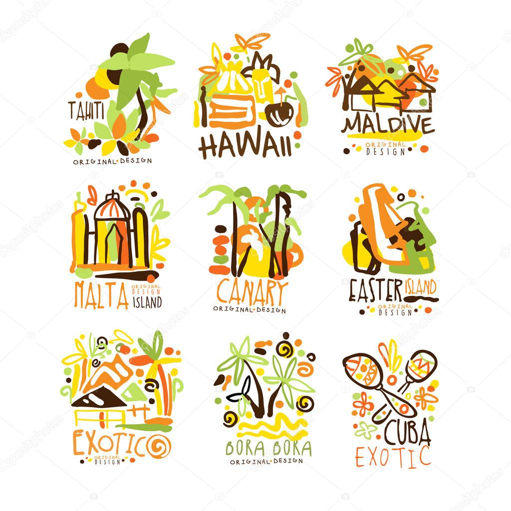Madagascar, Crete, Bali, Seychelles, Ibiza, Jamaica resort set for label design. Summer beach tourism and rest vector Illustrations