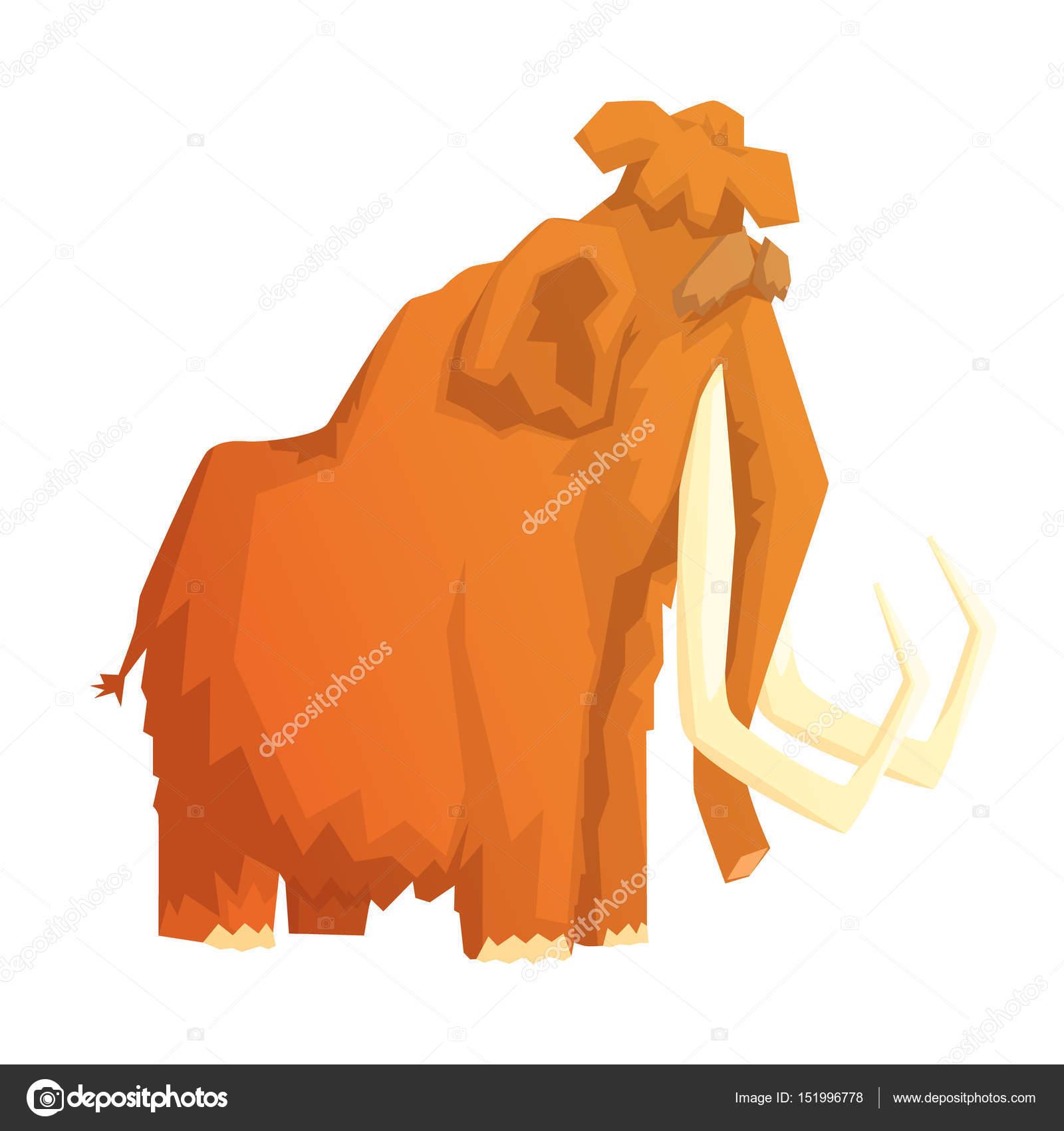 Mamut Memeli Buz Devri Soyu Tükenmiş Hayvan Renkli Vektör çizim
