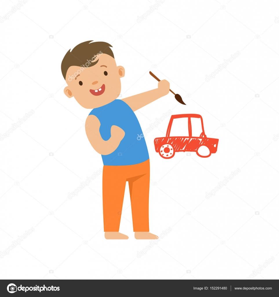 Sorridente Menino Bonitinho Pintar Um Carro Vermelho Em Uma Parede  ~ Parede Branca Quarto Com Quarto De Menino Carro