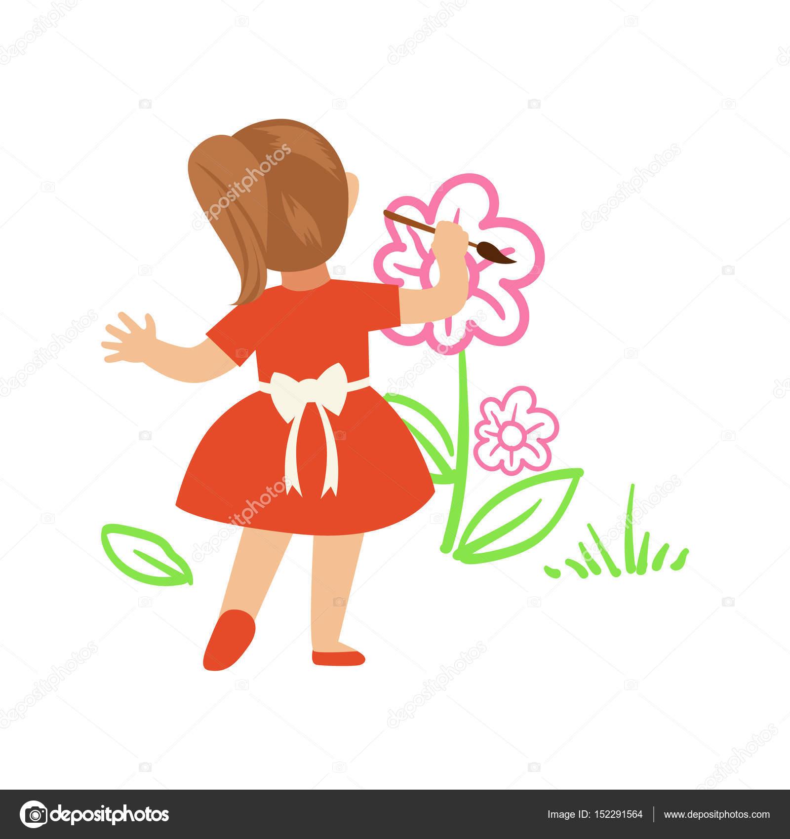 Kırmızı Elbise Boyama çiçek Beyaz Bir Duvar üzerinde Sevimli Küçük