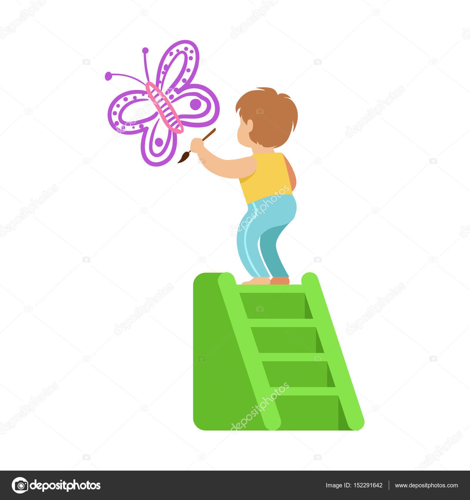 Bir Merdiven üzerinde Duran Ve Beyaz Bir Duvar üzerinde Mor Kelebek