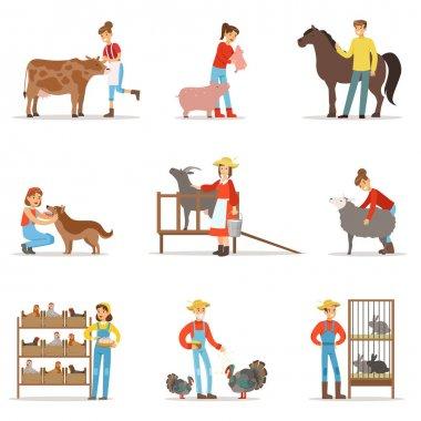 Breeding animals farmland. Farm profession worker people breeding livestock. Set of colorful cartoon detailed vector Illustrations