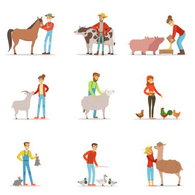 Farmers breeding livestock. Farm profession worker people, farm animals. Set of colorful cartoon detailed vector Illustrations