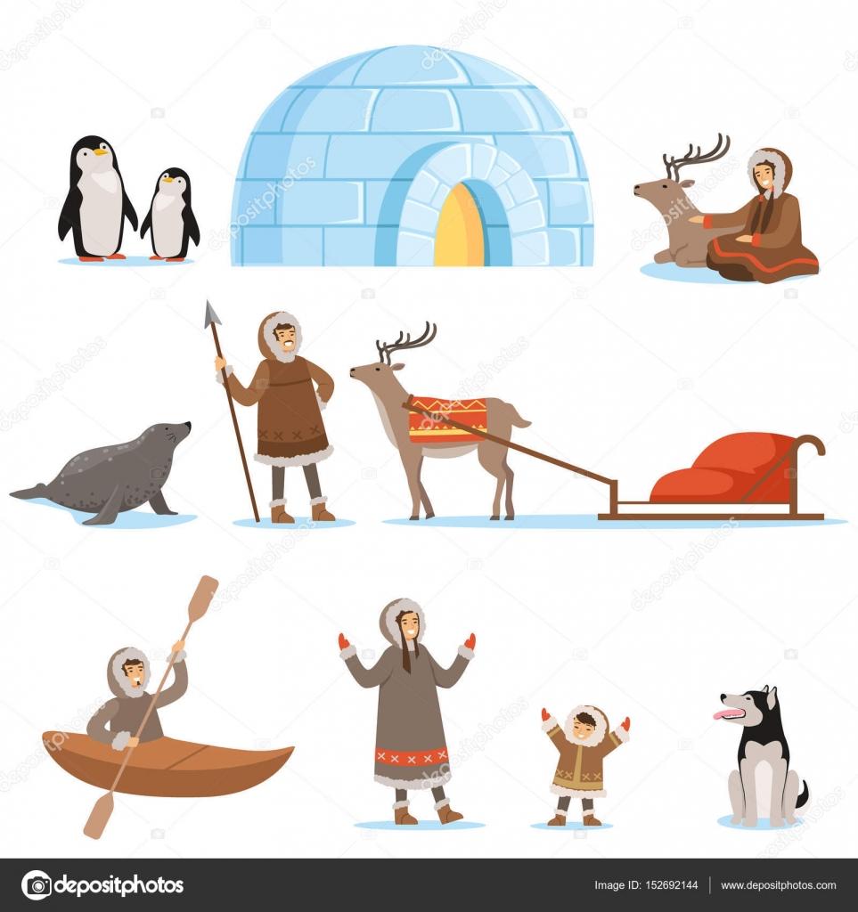 伝統的な服や、北極の動物でエスキモーの文字。はるか北での生活