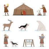 Fotografie Eskimo characters in traditional clothing, arctic animals, igloo house. Life in the far north. Set of colorful cartoon detailed vector Illustrations