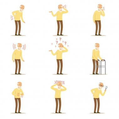 Elderly man diseases, pain problem in back, neck, arm, heart, knee and head. Senior health set of colorful cartoon characters detailed vector Illustrations