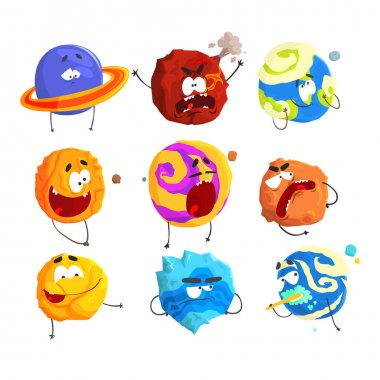 Colorful cartoon planets with funny faces and different emotions set for label design. Detailed vector Illustrations