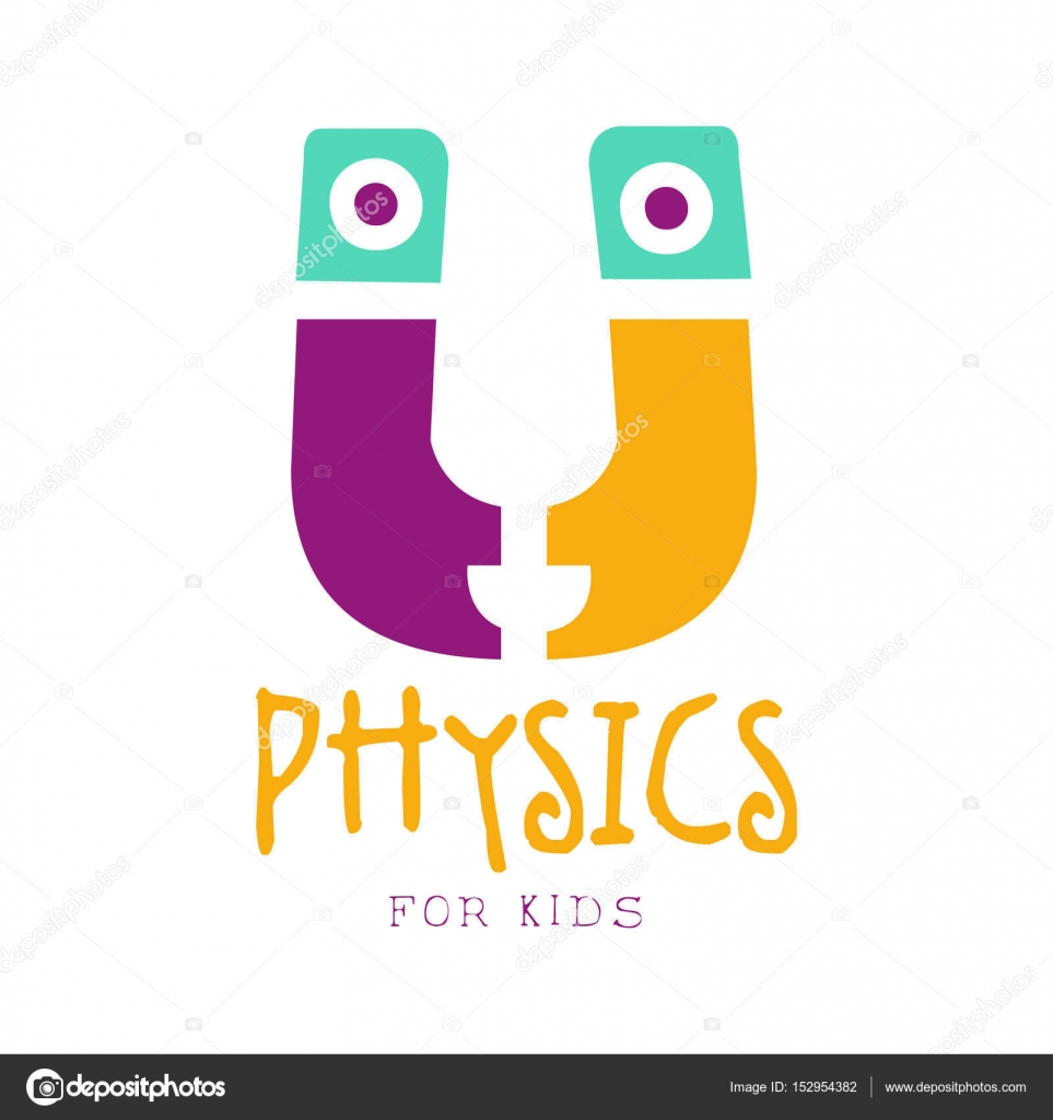 Physics For Kids Logo Symbol Colorful Hand Drawn Label Stock