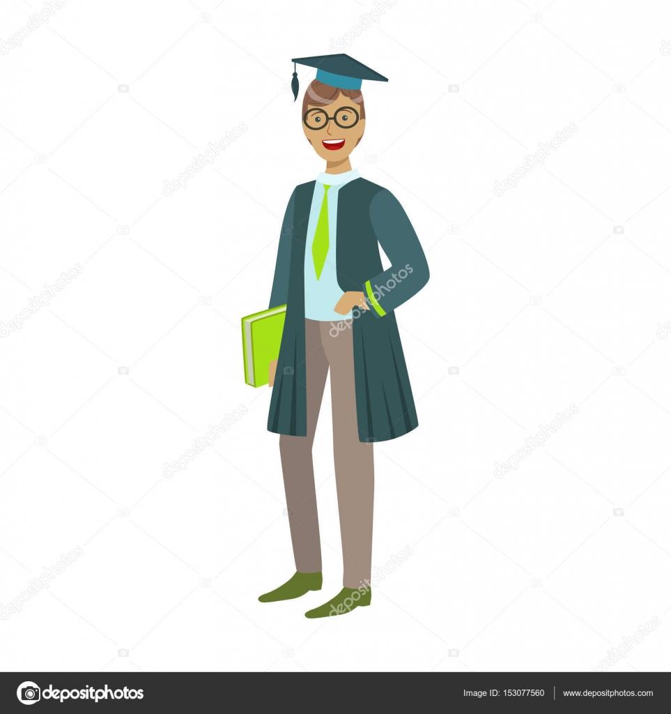 Frohliche Graduate Kerl Student Im Mantel Mit Grunen Buch Bunte