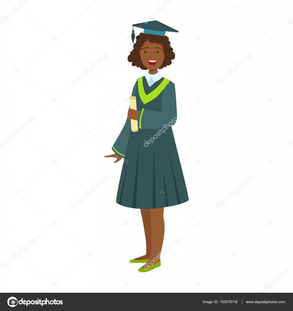 Personas Graduadas Animadas Chica Joven En Manto De