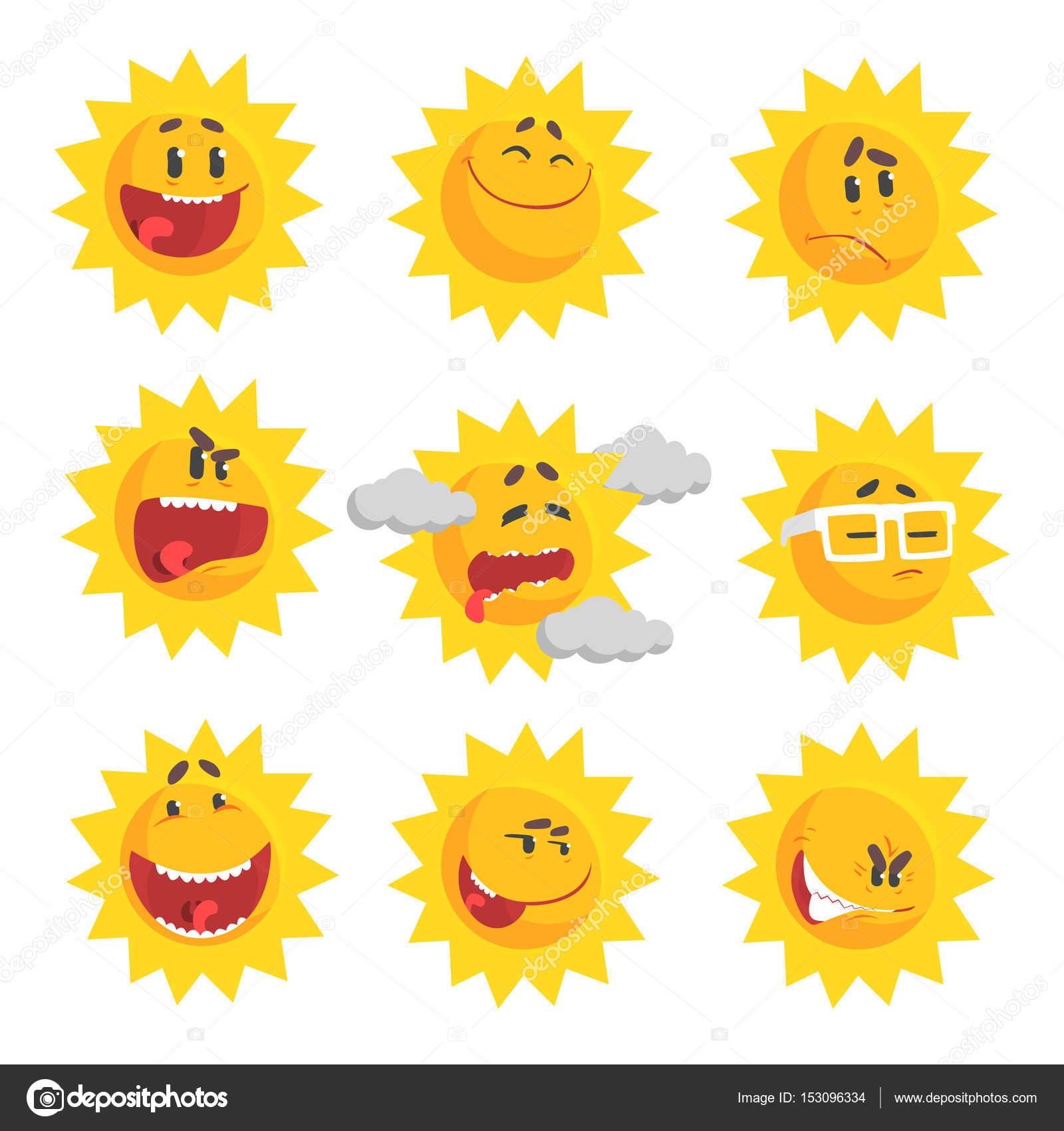 emojis de sol bonito dos desenhos animados conjunto de face