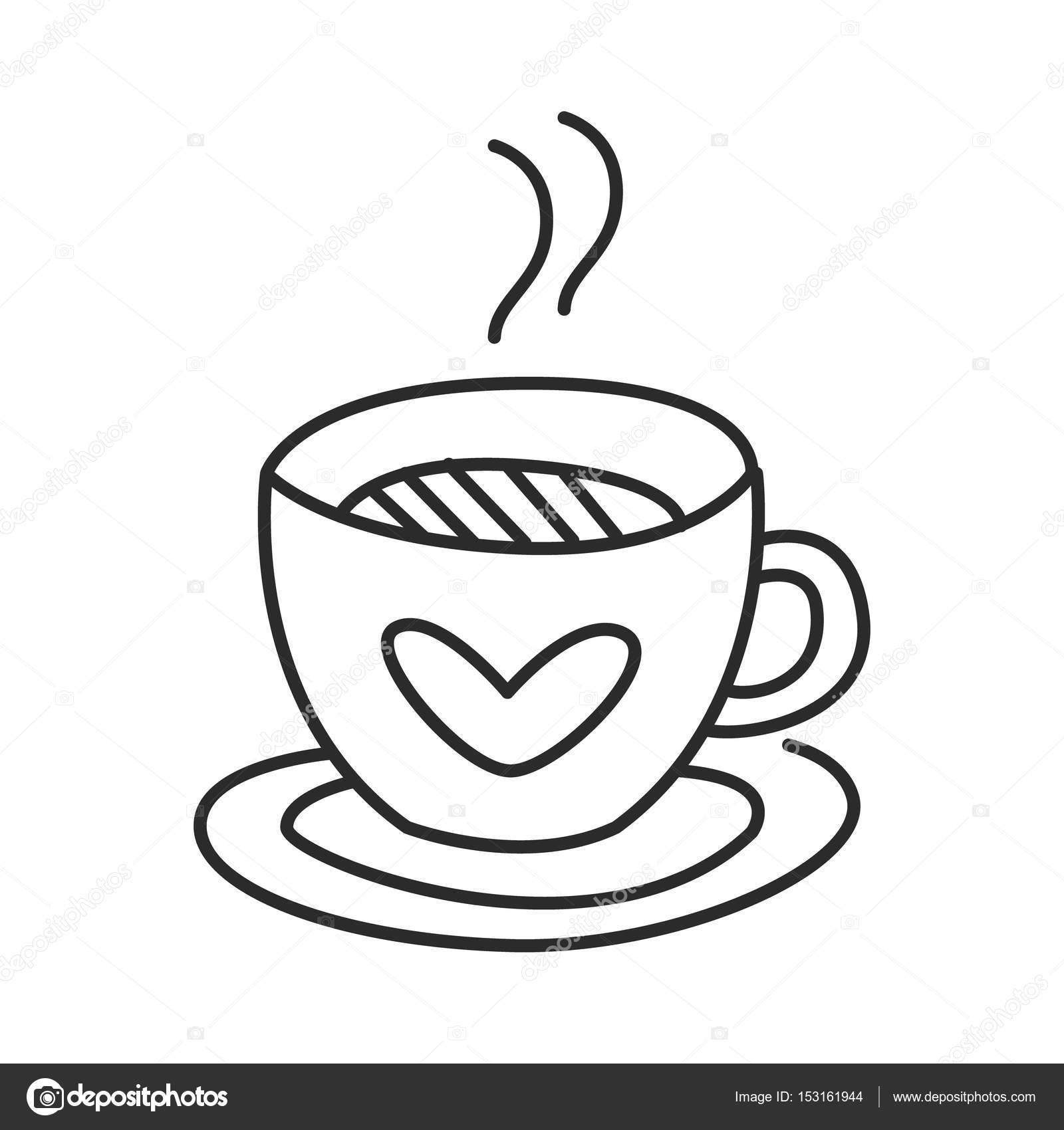Vector de taza de té o café doodle ilustración de línea dibujado a ...