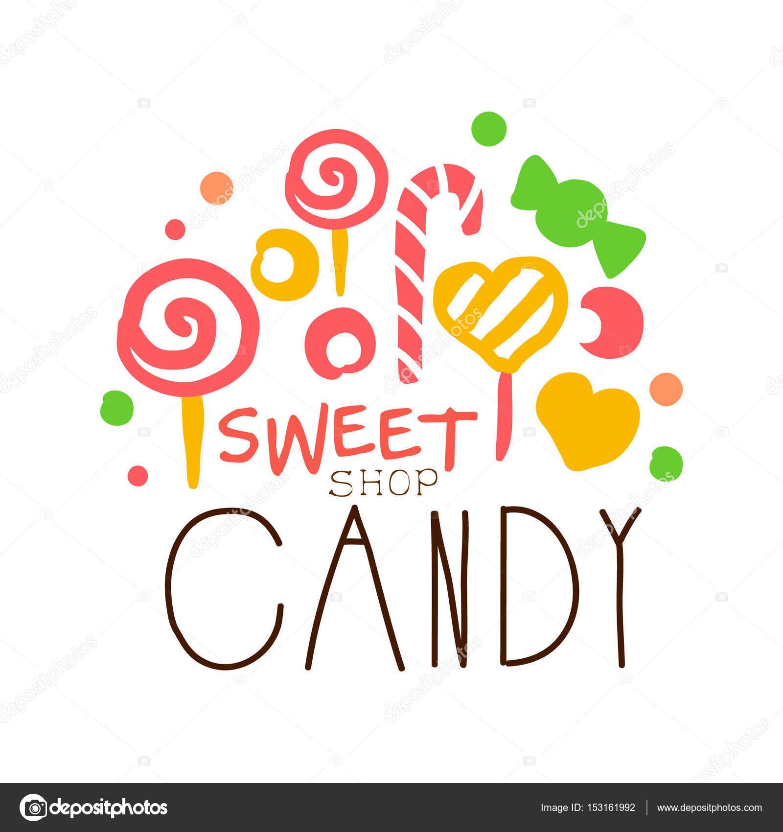 Logo de caramelo dulce. Etiqueta dibujada mano colorido — Vector de ...