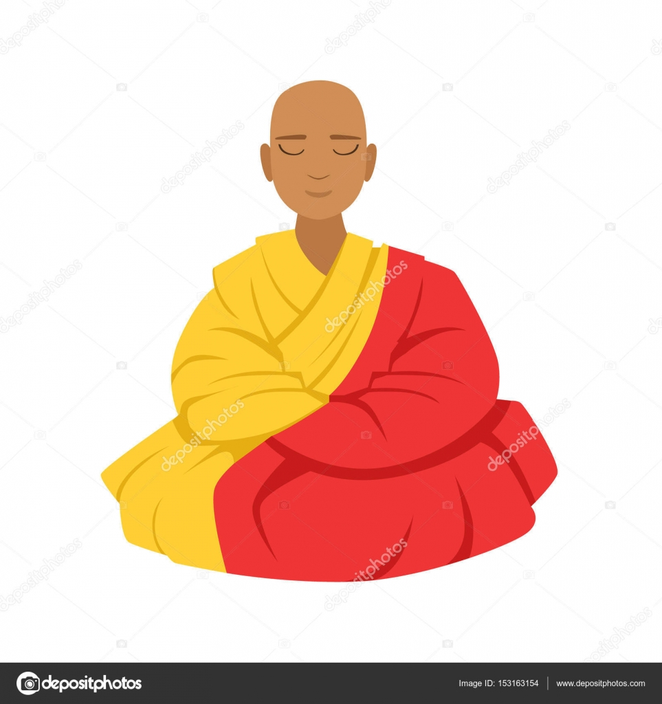 Tibetan Monk In A Robe Buddhist In Lotus Position Colorful