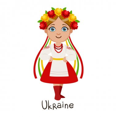 Girl In Ukraine Country National Clothes, Wearing Wreath Of Flowera And Ribbon Headdress Traditional For The Nation