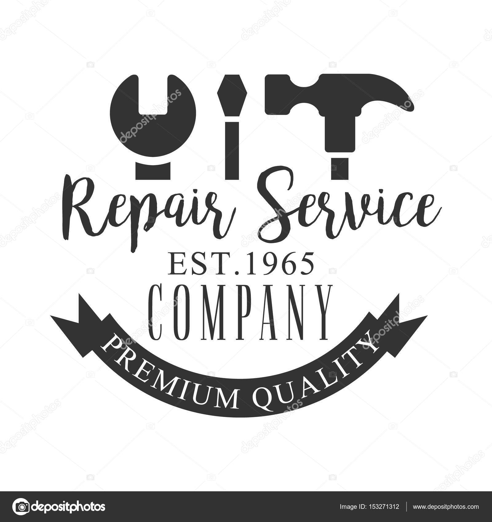 Premium-Qualität der Reparatur und Umbau Service schwarz-weiß ...