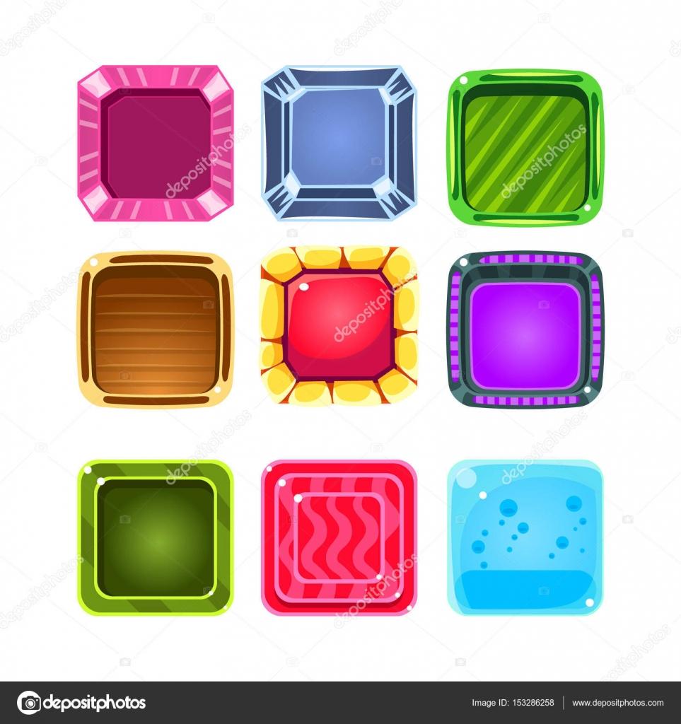 Gemas de colores elemento Juego Flash plantillas colección de ...