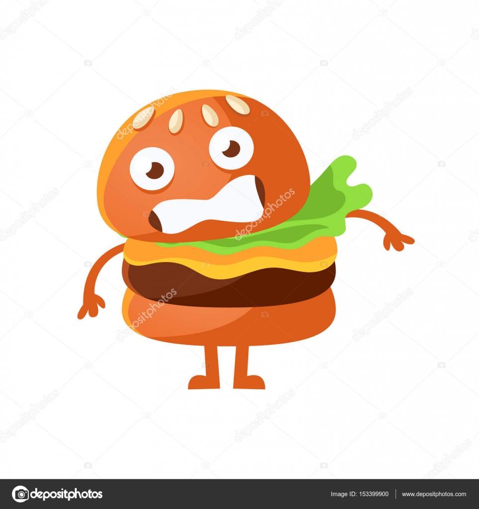 Spaventato hamburger con grandi occhi simpatico cartone