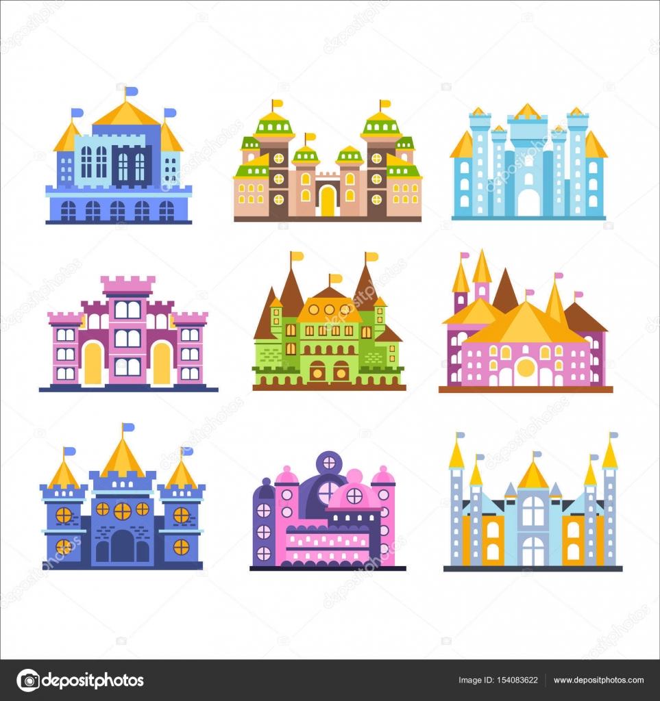 カラフルなお城や邸宅を設定します中世の建物ベクトル イラスト集